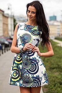 Sukienka koła żakardowa rozkloszowana