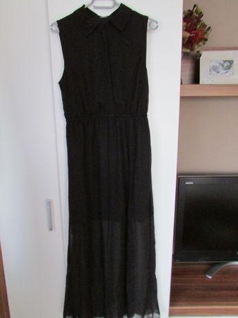 Letnia długa sukienka z kołnierzykiem 38