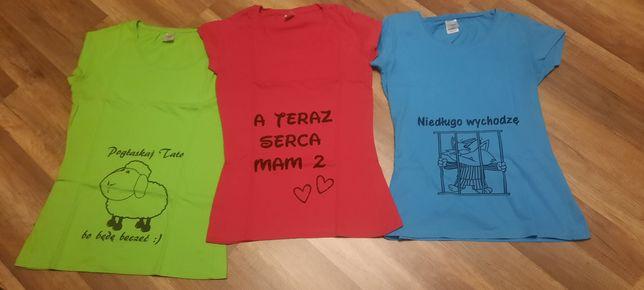 3x t-shirt ciążowy, rozmiar M i L