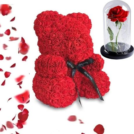Мишка из Роз 25см + Роза в колбе, Мишка из цветов в подарочной коробке