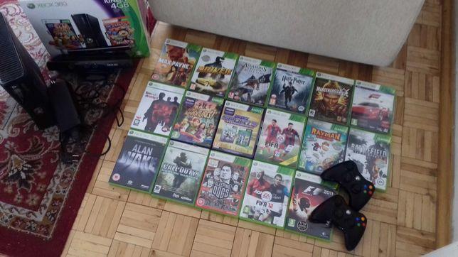 XBox 360 + Kinect + 2 pady + 17 oryginalnych gier