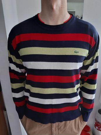 Cienki męski sweterek w paski Lacoste