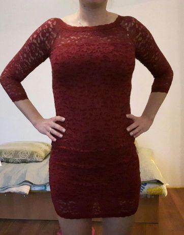 Piękna bordowa koronkowa sukienka 38-40