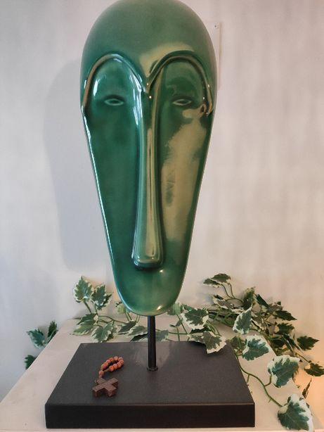 Estátua decorativa de porcelana com base em metal em forma cara Humana