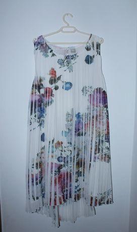 Sukienka/tunika 146 plisowana florystyczny wzór