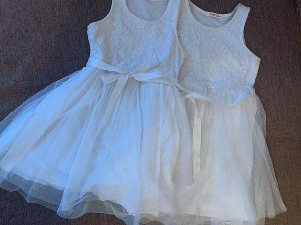 Нарядное белое платье с фатином 6 лет Платье снежинки