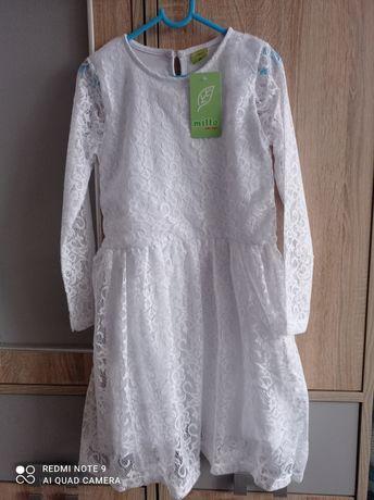 NOWA Sukienka biała koronka elegancka na uroczystość 146
