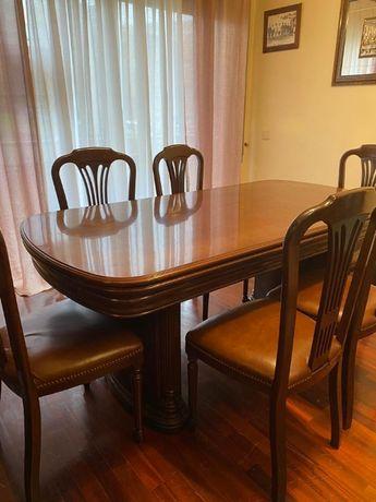 Sala de jantar em cerejeira + mesa de apoio em vidro + móvel tv