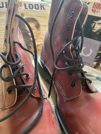 Doc Martens Dr botas Made in England bordeaux 44 biqueira de aco