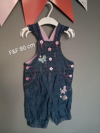 Ogrodniczki na szelkach jeansowe F&F 80 cm spodnie jeans 3/4