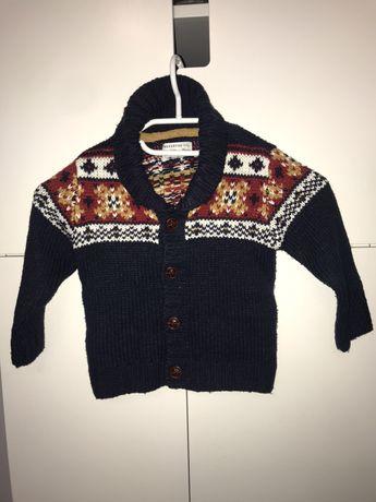 Kardigan jak nowy sweterek chłopiec RESERVED 86 cm święta zima jesień