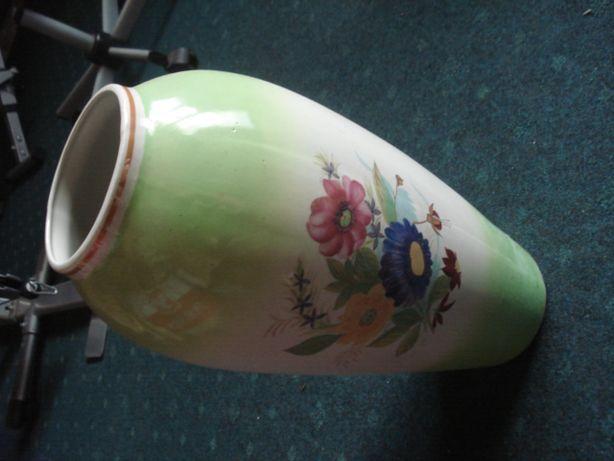 Stary wielki wazon z PRL sygnowany ręcznie malowany