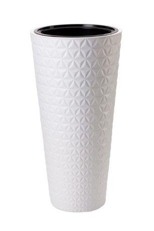 Donica całoroczna mrozoodporna z wkadem Diament Slim 30 h56 biała