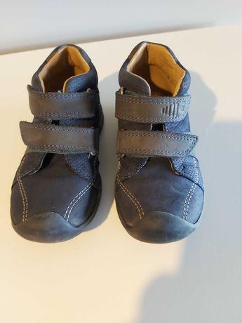 Buciki, buty dziecięce skórzane elefanten 24 na rzepy, granatowe