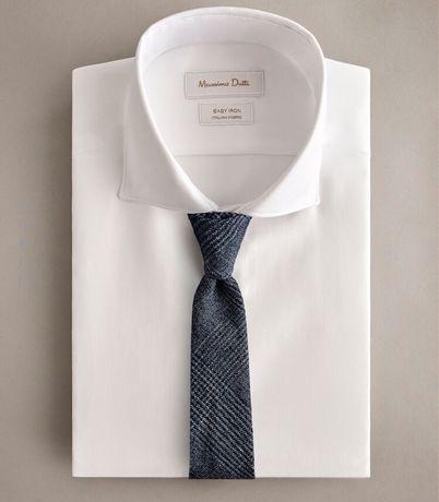 Okazja nowy krawat kratka Massimo Dutti jedwab wełna szary vistula