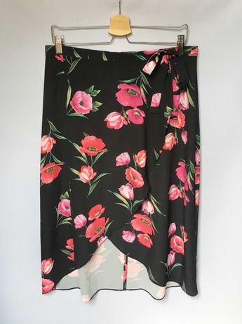 Spódniczka Czarna Kwiaty Kopertowa MidiXL 42 Roman Kwiatki Zara H&M