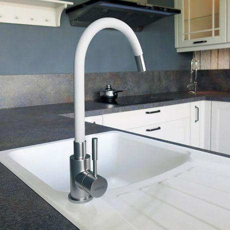 Смеситель для кухни VENTA VA3008E-White с изогнутым изливом, белый