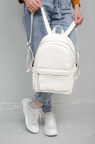 Базовая модель! Женский белый рюкзак повседневный, школьный, кожа