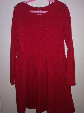 Sukienka H&M rozm 134/140  8-10lat. Czerwona. Serce.