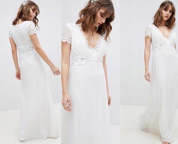 Suknia ślubna Asos styl bohoo