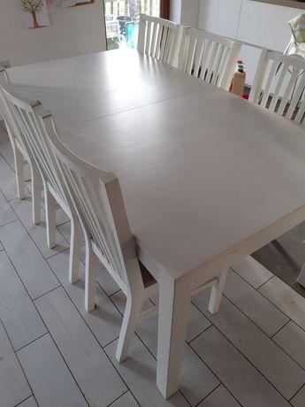 Komplet biały stół krzesła tapicerowane szare ikea