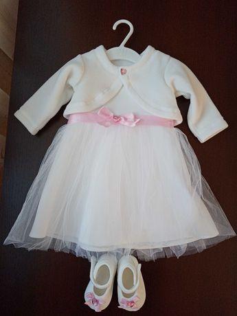 Sukienka, bolerko, buciki na chrzest / chrzciny