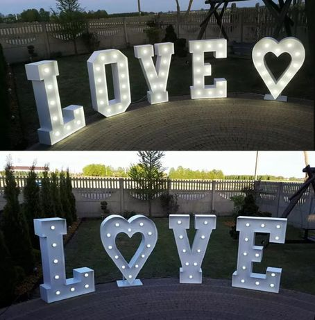 Podświetlany napis love 120 cm wys. + serce