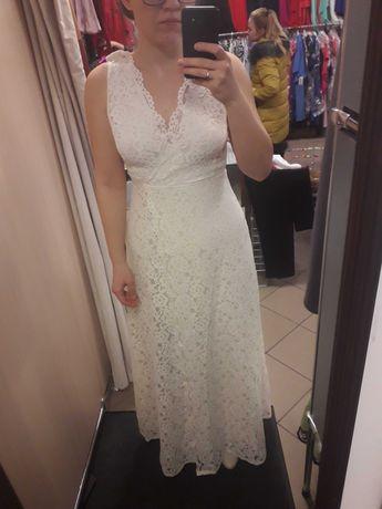 Śliczna długa sukienka z koronki idealna na ślub r.38
