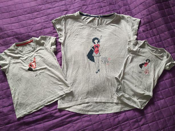 Zestaw t-shirtow SuperMama ENDO mama r L, córka r 86, syn 110.