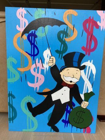 Pop-art интерьер Картина monopoly man, (alec monopoly) 90 на 60 размер