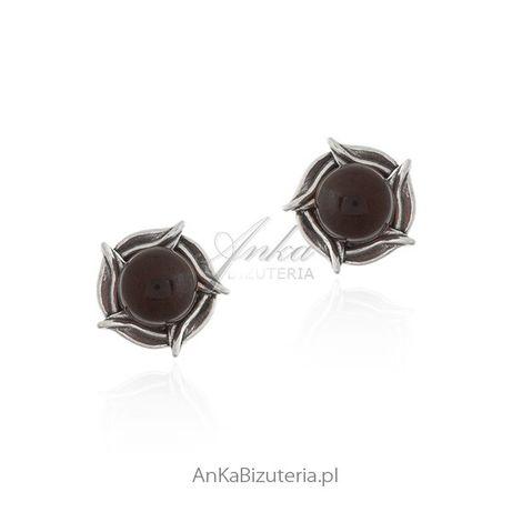 ankabizuteria.pl kss 925 srebro Kolczyki srebrne z wiśniowym bursztyne