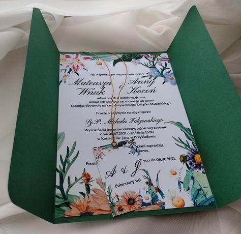 Zaproszenie na ślub składane kolorowe kwiaty