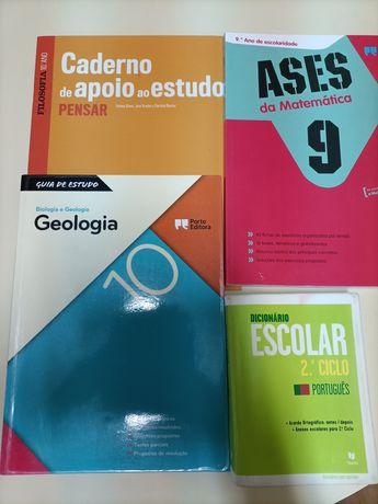 Livros, caderno de atividades e dicionário