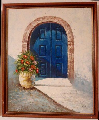 Malarstwo śródziemnomorskie obraz olejny z lat 80 wymiary 66/55