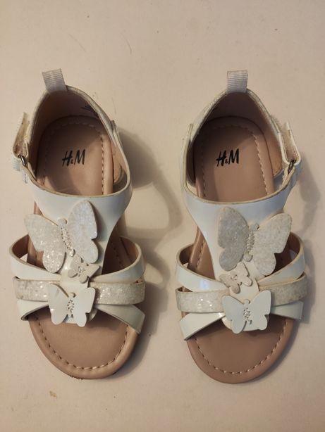 Sandały biale dla dziewczynki, rozmiar 25 H&M