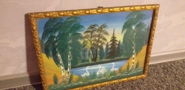 Stary obraz malowany akwarelami