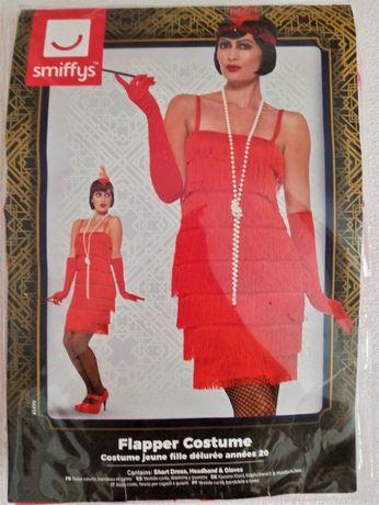 Strój Retro Lata 20 Flapper sukienka frędzle, rozmiar S + GRATIS PERŁY