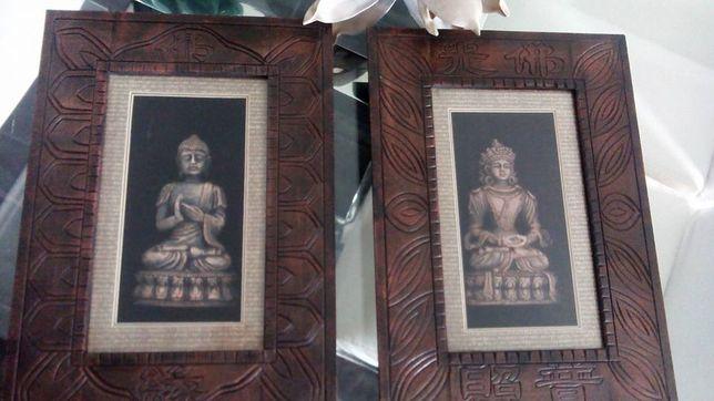 Conjunto novo de quadros com figuras deuses buda em relevo no interior