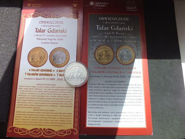 Moneta 70 Talarów Gdańskich 2009r.UNC srebro Ag500 Wałęsa, 2x folder