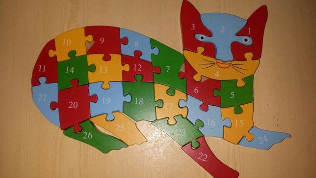 Drewniane puzzle dwustronne KOT