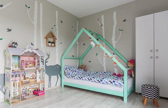 Nowe łóżko domek skandynawski, dziecięce, drewniane CLEO Kolor