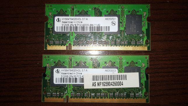 2x Memórias 512mb Infineon DDR2 PC2-4200S-444-11-A0 533MHz