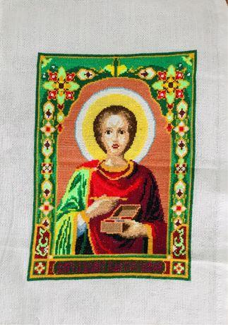 Икона Пантелеймон Целитель, вышивка крестиком
