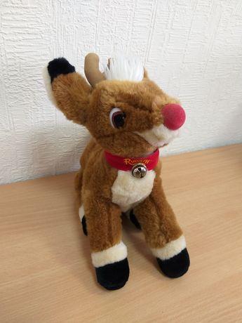 Винтажная плюшевая игрушка олененок Рудольф с красным носом