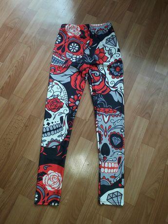 XL. Sportowe legginsy La Catrina czaszki maska rock