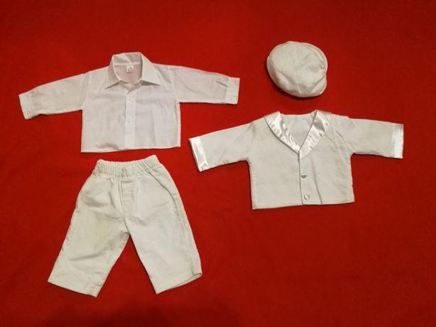 Zestaw ubranko do chrztu dla chłopca rozmiar 68 kolor biały