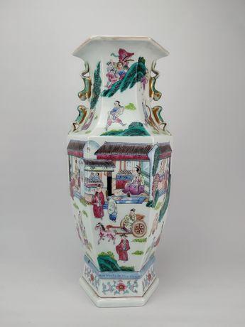 Jarra Sextavada em Porcelana Chinesa