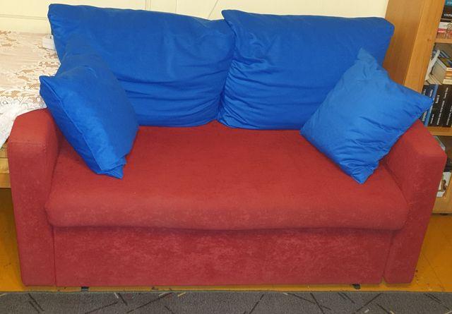 Sofa 2 osobowa czerwono-niebieska