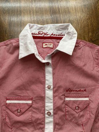 Czerwono - biała konkursowa koszulka jeździecka polo, rozmiar M