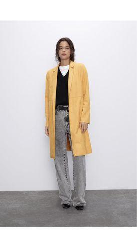 Пальто тренч из Искусственной замши Zara M миди